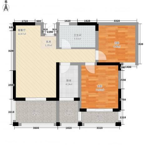 百商又一城2室1厅1卫1厨75.00㎡户型图