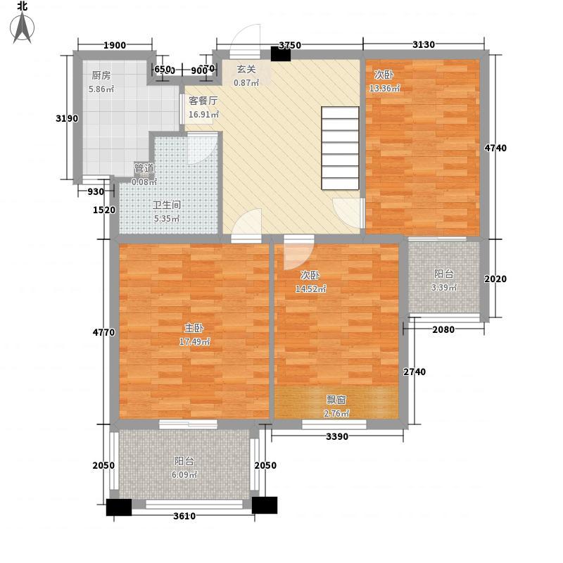 金山福地3室1厅1卫1厨116.00㎡户型图