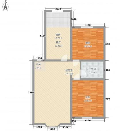 金碧花园2室0厅1卫1厨131.00㎡户型图