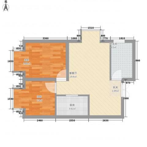 ATT・活力城2室1厅1卫1厨64.00㎡户型图