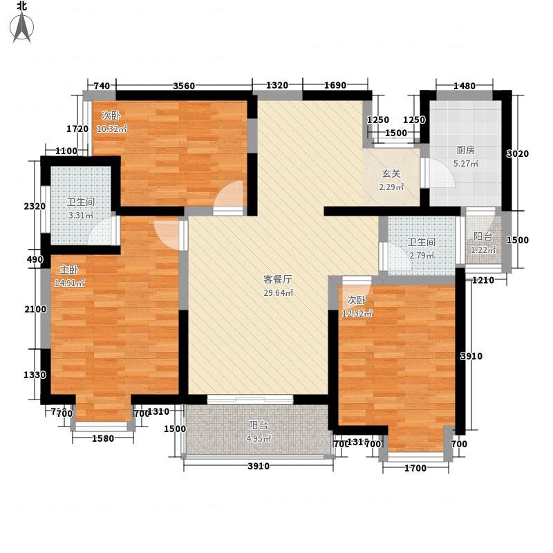 绿地乐和公馆115.00㎡绿地乐和公馆户型图B-3户型3室2厅2卫1厨户型3室2厅2卫1厨