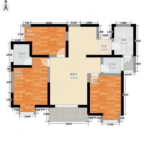 绿地乐和公馆3室1厅2卫1厨115.00㎡户型图