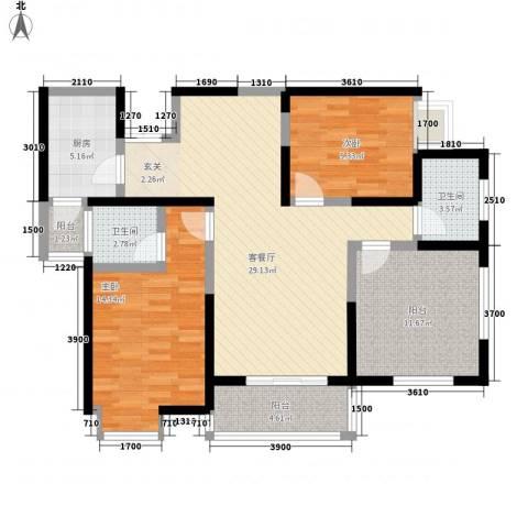 绿地乐和公馆2室1厅2卫1厨107.00㎡户型图