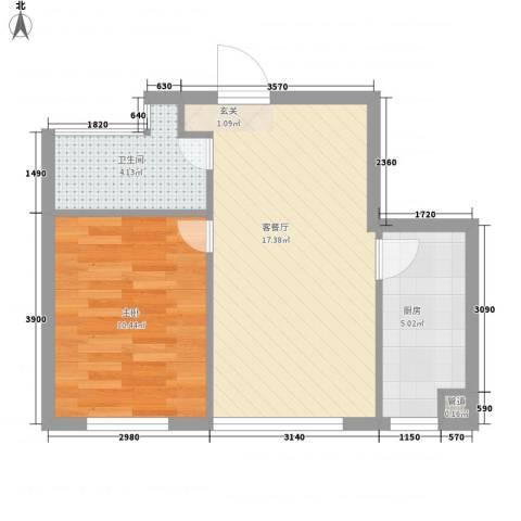 甘井子安邦阳光润城1室1厅1卫1厨59.00㎡户型图