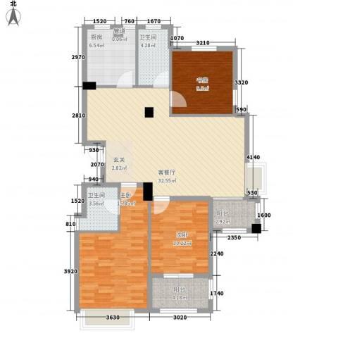 金山福地3室1厅2卫1厨127.00㎡户型图