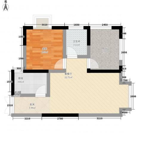 绿地乐和公馆1室1厅1卫1厨58.00㎡户型图