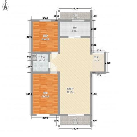 如意名苑2室1厅1卫1厨114.00㎡户型图