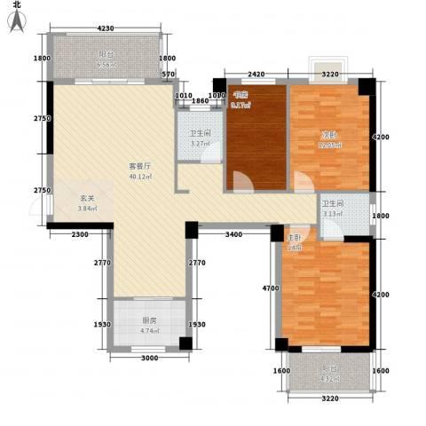 广隆海尚首府3室1厅2卫1厨135.00㎡户型图