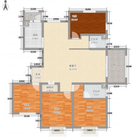 华府天地4室1厅2卫1厨162.00㎡户型图