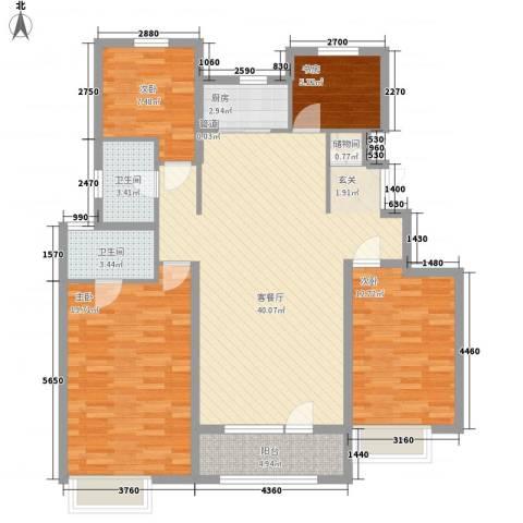 沈阳龙湖香醍漫步4室1厅2卫1厨143.00㎡户型图