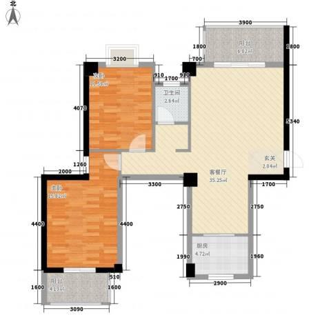 广隆海尚首府2室1厅1卫1厨111.00㎡户型图
