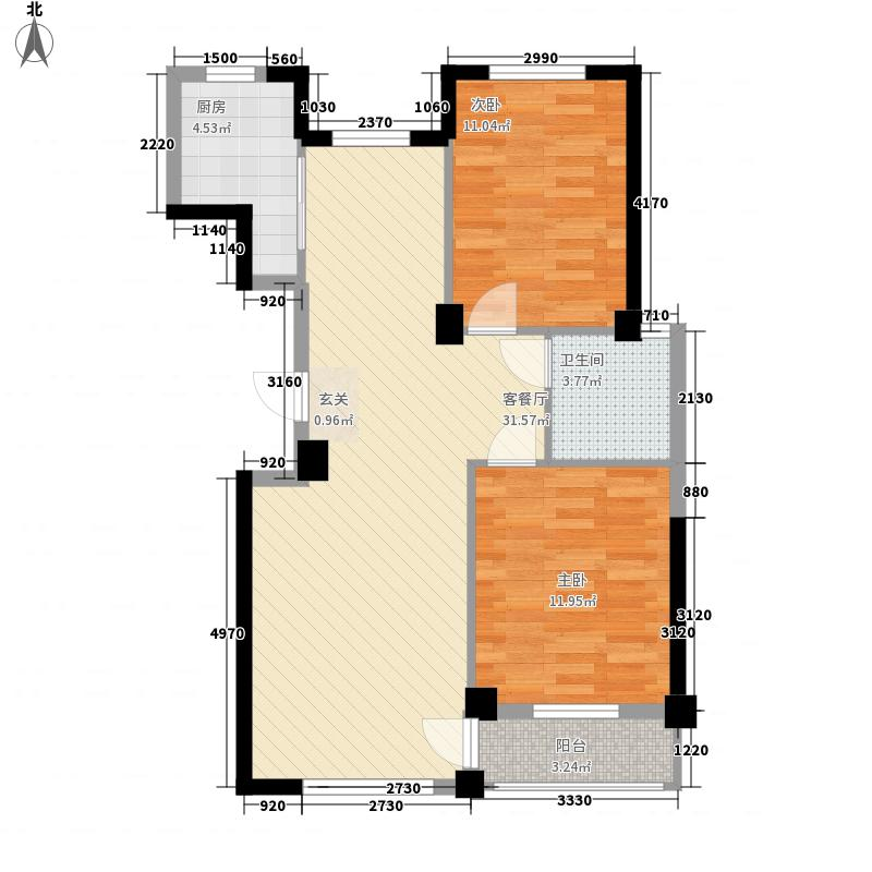 福佳机场前院2#楼户型2室2厅