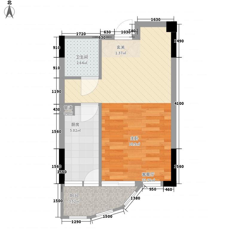 汇乔金色名都0室1厅1卫1厨45.00㎡户型图