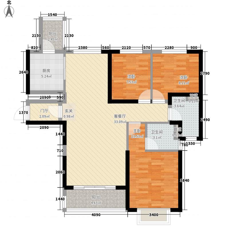 赣州・恒大名都3室1厅2卫1厨121.00㎡户型图