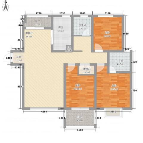 华府天地3室1厅2卫1厨132.00㎡户型图