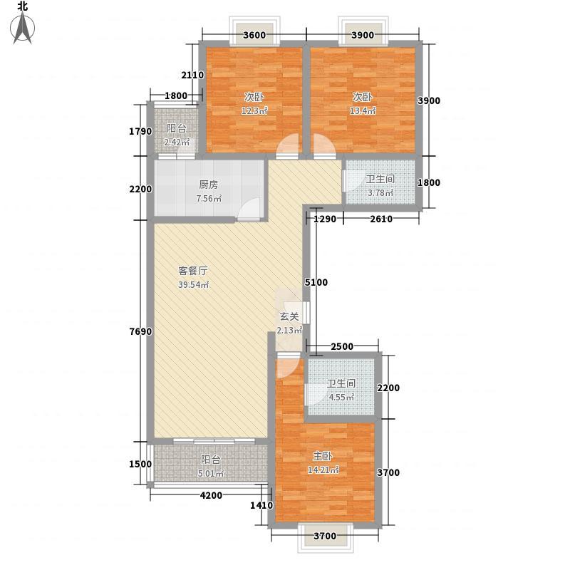 太原礼顿山3室1厅2卫1厨161.00㎡户型图
