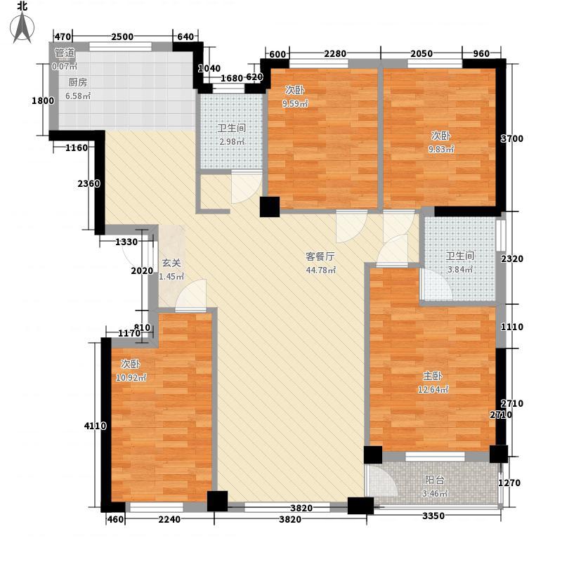 福佳机场前院4室1厅2卫0厨135.00㎡户型图