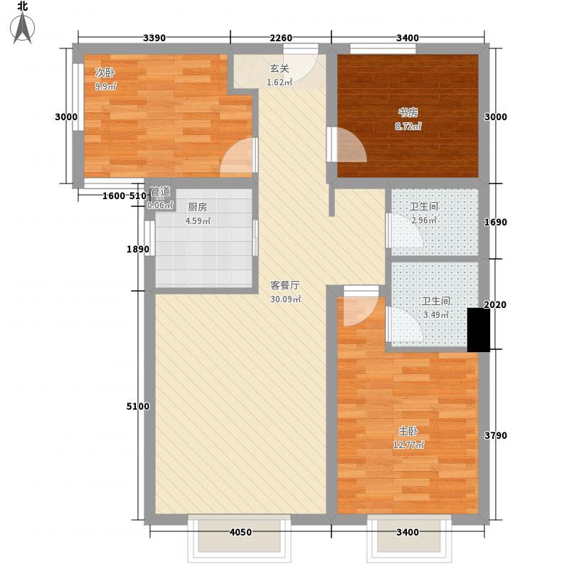 香缇花园3室1厅2卫1厨104.00㎡户型图