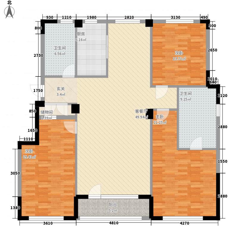 福佳机场前院141.00㎡3#楼户型3室2厅2卫