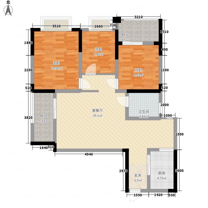 慧佳顺和苑3室1厅1卫1厨122.00㎡户型图