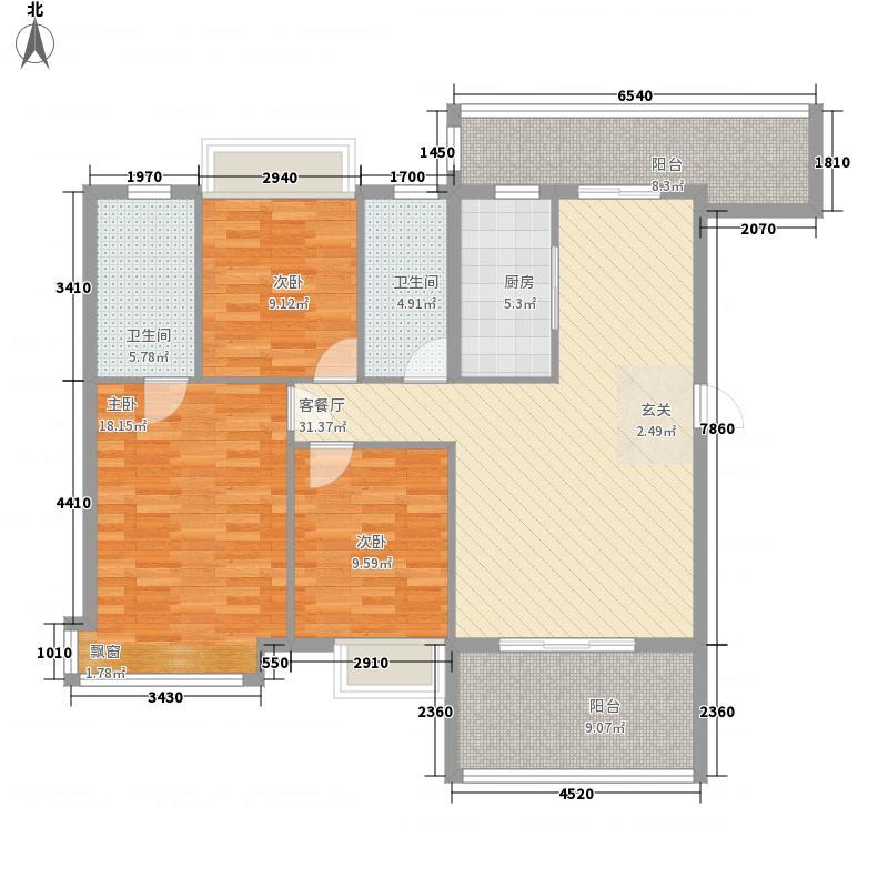 慧佳顺和苑3室1厅2卫1厨143.00㎡户型图