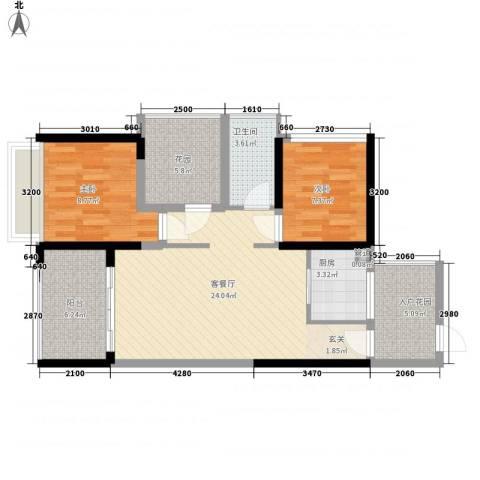 畔山名居・特区青年2室1厅1卫1厨79.00㎡户型图