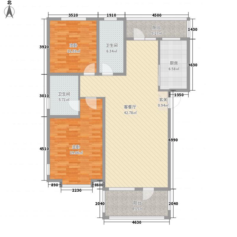 清韵百园114.13㎡A-4户型2室2厅2卫