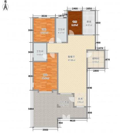 清韵百园3室1厅2卫1厨145.58㎡户型图
