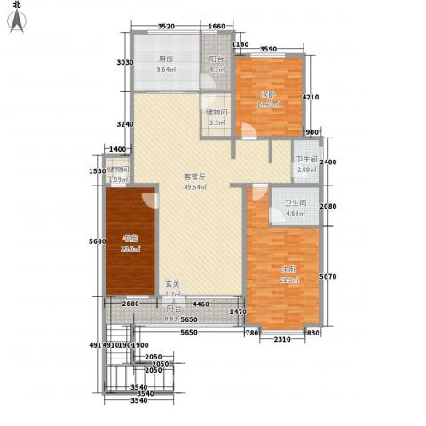 清韵百园3室1厅2卫1厨157.00㎡户型图