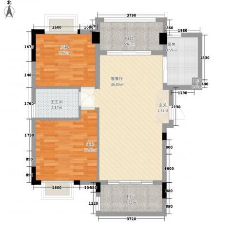 广电江湾新城2室1厅1卫1厨91.00㎡户型图