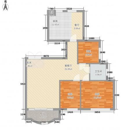 西雅图观海苑3室1厅1卫1厨106.00㎡户型图