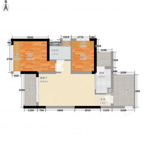 星河湾畔2室1厅1卫1厨82.00㎡户型图