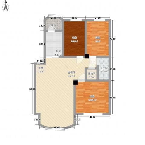 西雅图观海苑3室1厅1卫1厨118.00㎡户型图