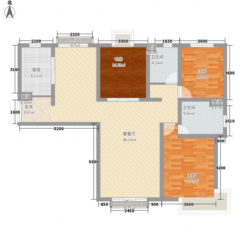 定西・天庆嘉园14.00㎡4#5#E4户型3室2厅2卫1厨