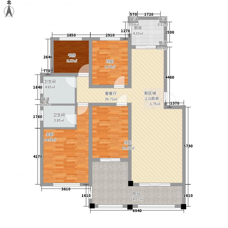 绿地泰晤士新城155.22㎡Y1户型4室2厅2卫1厨