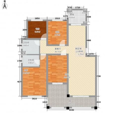 绿地泰晤士新城4室1厅2卫1厨155.00㎡户型图