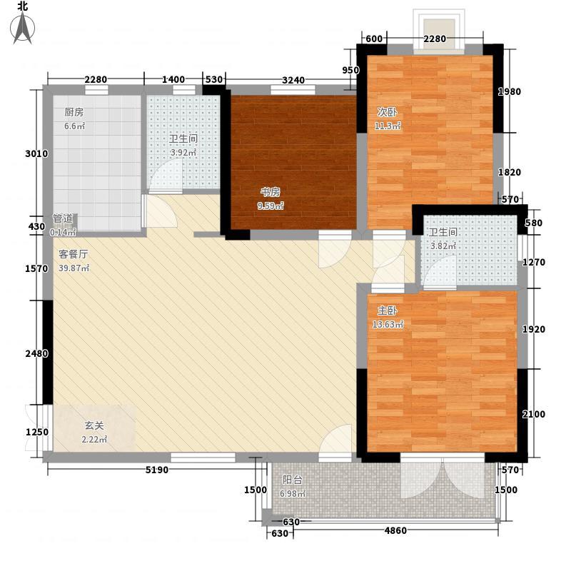 海马公园3室1厅2卫1厨138.00㎡户型图
