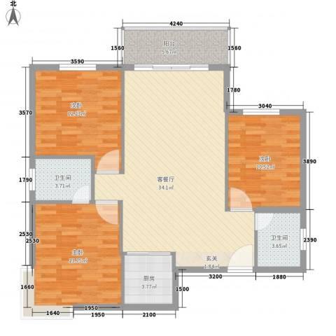 七里山路单位宿舍3室1厅2卫1厨128.00㎡户型图