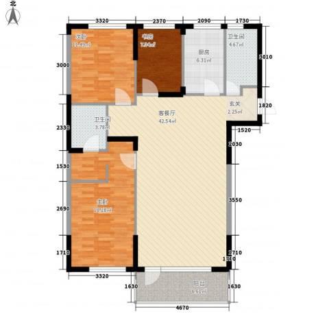 斯坦福院落2011百花深处3室1厅2卫1厨122.00㎡户型图