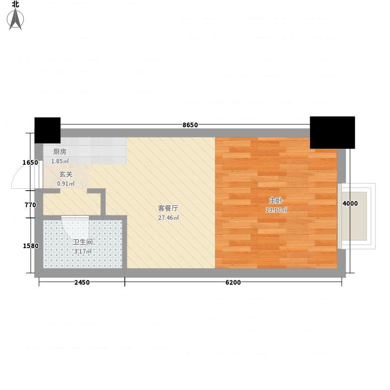 港汇中心0室1厅1卫0厨48.00㎡户型图