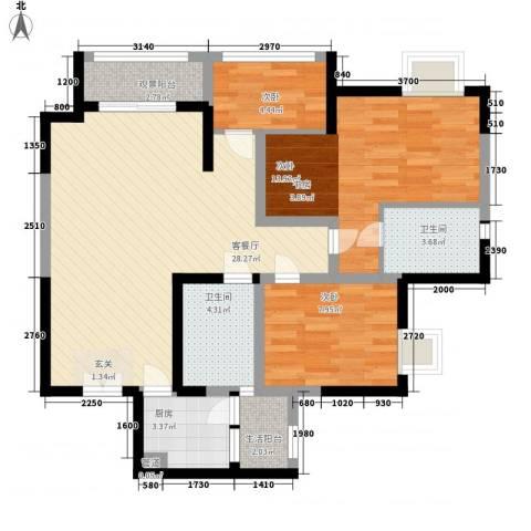 凯鑫华府3室1厅2卫1厨105.00㎡户型图