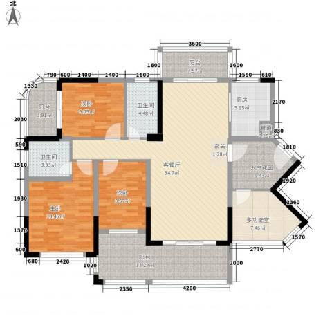 新怡・美丽家园3室1厅2卫1厨166.00㎡户型图