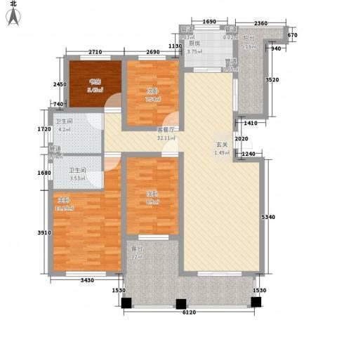 绿地泰晤士新城4室1厅2卫1厨95.97㎡户型图