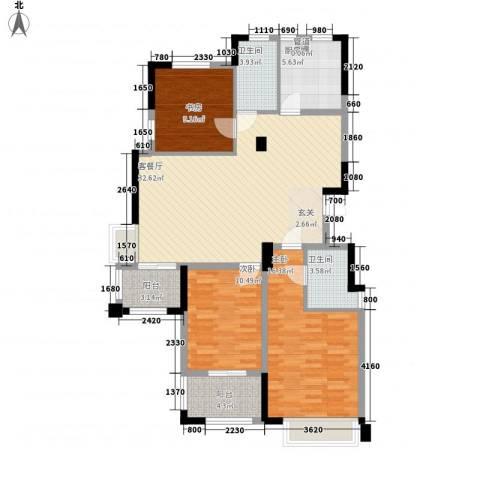 金山福地3室1厅2卫1厨128.00㎡户型图