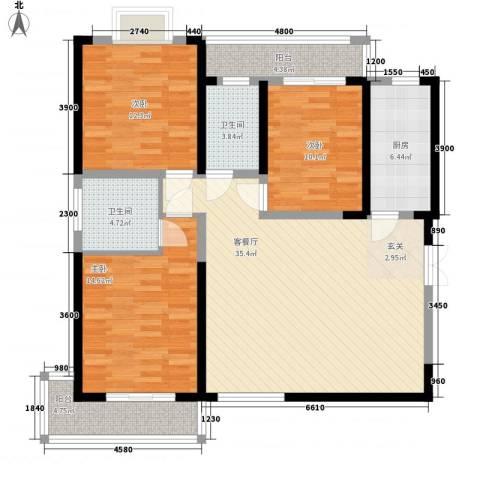 天生福邸3室1厅2卫1厨139.00㎡户型图