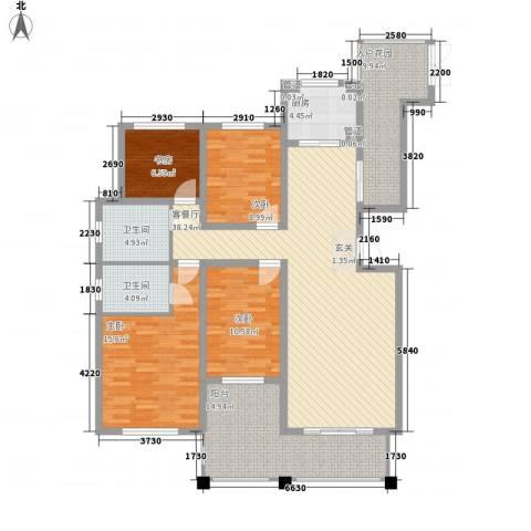 绿地泰晤士新城4室1厅2卫1厨118.66㎡户型图