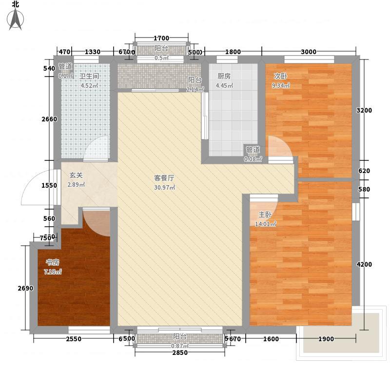 定西・天庆嘉园111.00㎡1#3#B4户型3室2厅1卫1厨