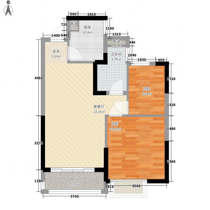 恒大翡翠华庭77.16㎡高层5号楼3户型2室2厅1卫1厨