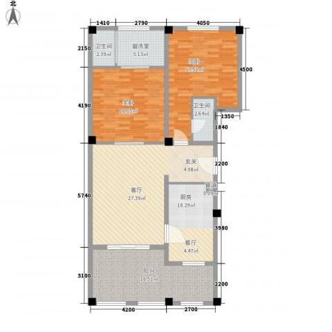 金汤湾海水温泉小镇2室1厅2卫1厨145.00㎡户型图