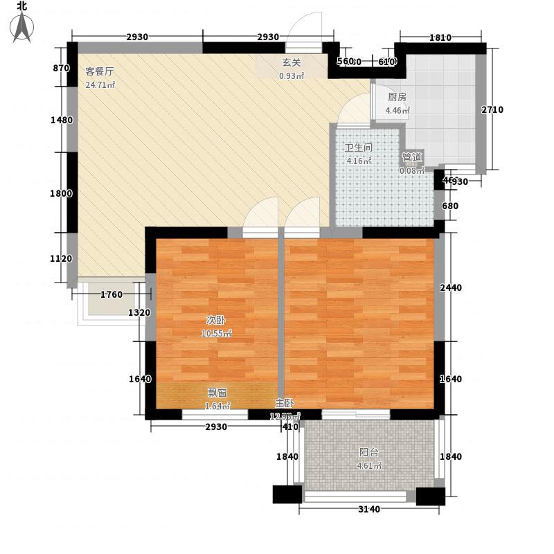 金山福地88.00㎡A2户型2室1厅1卫1厨